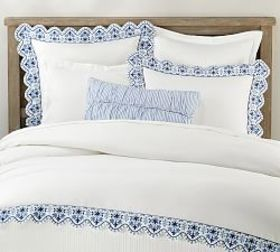 Pottery Barn Zoe Scallop Embroidered Duvet Cover &