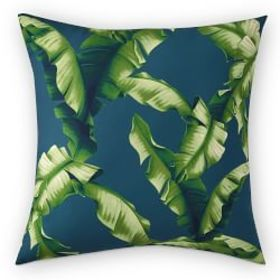Printed Palm Outdoor Pillow, Teal
