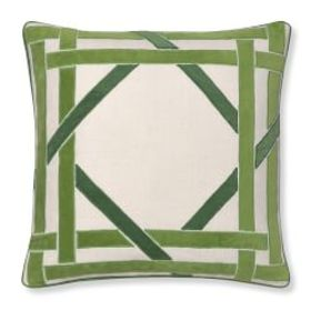 Cane Velvet Applique Pillow Cover, Green