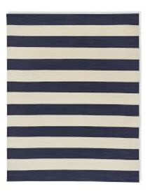 Patio Stripe Indoor/Outdoor Rug, Dress Blue