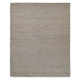 Striped Hand Braided Abaca Rug, Navy/Natural