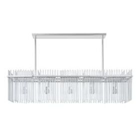 "Juno 52"" Linear Glass Chandelier, Polished Nickel"