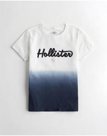 Hollister Dip-Dye Graphic Tee, NAVY OMBRE