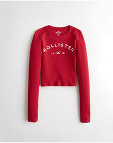 Hollister Crop Waffle Graphic Tee, RED