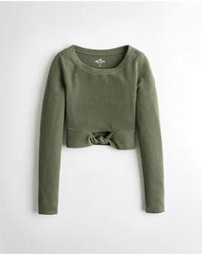 Hollister Knotted Crop T-Shirt, OLIVE