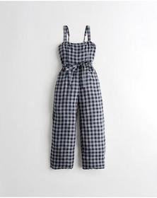 Hollister Crop Wide-Leg Jumpsuit, NAVY PLAID