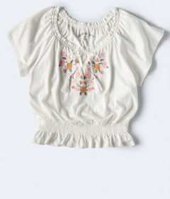 Aeropostale Embroidered Peasant Top