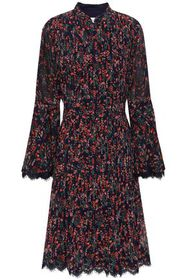 MIKAEL AGHAL Lace-trimmed pintucked floral-print g