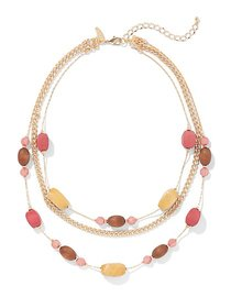 Goldtone Beaded Illusion Necklace - New York & Com