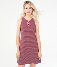 Aeropostale Striped Lace-Up Shift Dress