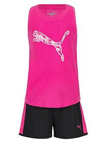 PUMA Little Girl's 2-Piece Racer Back Tank & Trico