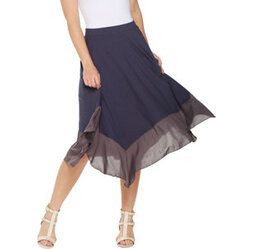 LOGO by Lori Goldstein Pull-On Skirt with Woven Fl