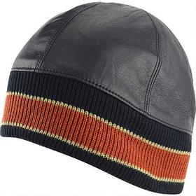 Leather Skull Cap w/ Orange Stripe