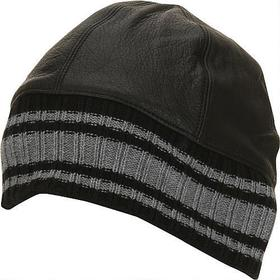 Leather Skull Cap w/ Silver Stripe