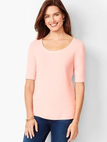 Talbots Platinum Jersey Scoop-Neck Top - Solid