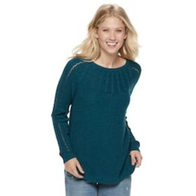 Women's SONOMA Goods for Life™ Cable Knit Yoke Cre