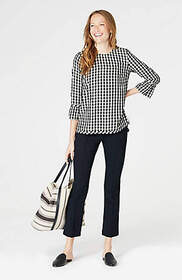 Gingham Ruffle-Sleeve Top