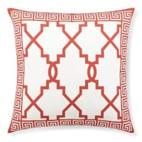 Printed Gate with Greek Key Border Outdoor Pillow,