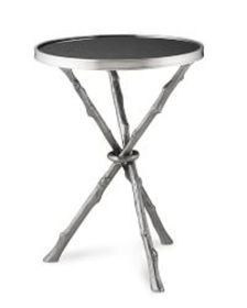 Faux Bois Accent Table with Granite Top
