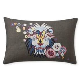 Floral Lion Embroidered Lumbar Pillow Cover, Grey