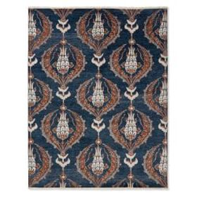 Ottoman Garden Hand Knotted Rug, Peacoat/Spice