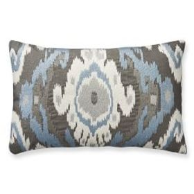 Istanbul Ikat Embroidered Lumbar Pillow Cover, Gre