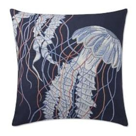 Jellyfish Embroidered Linen Pillow Cover, Navy/Mul