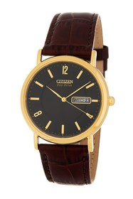 Citizen Men's Eco-Drive Stainless Steel Leather Wa