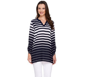 """""""As Is"""" Susan Graver Striped Woven V-Neck Tunic -"""