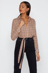 Nasty Gal Plaid Girls Club Longline Shirt