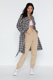 Nasty Gal Check Off Trench Coat