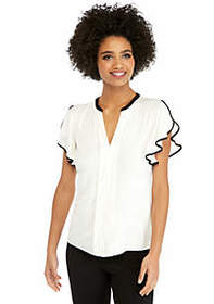 The Limited Flutter Sleeve Top with Center Placket