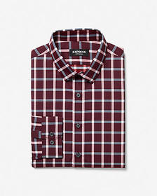 Express slim plaid wrinkle-resistant performance b