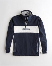 Hollister Mesh-Lined Half-Zip Mockneck Windbreaker