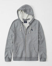 Lightweight Full-Zip Icon Hoodie, HEATHER GREY