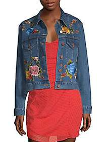 Alice + Olivia Chloe Embroidered Boxy Denim Jacket