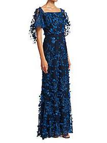 Marchesa Embroidered Floral Lace Gown NAVY