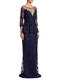 Teri Jon Embellished Lace Gown NAVY