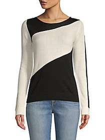prins Colorblock Long-Sleeve Sweater BLACK WHITE