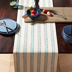 Crate Barrel Laney Blue and White Stripe Table Run