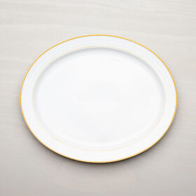 Crate Barrel Roulette Yellow Band Oval Platter