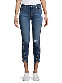 7 For All Mankind Curved-Seam Ripped Jeans ALLURIN