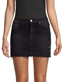 Hudson Jeans Frayed Denim Mini Skirt BLACK