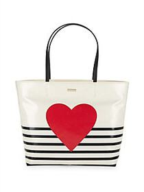 Kate Spade New York Hallie Heart and Stripe Tote M