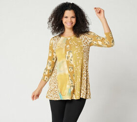 LOGO by Lori Goldstein Mixed Print Top w/ Twisted