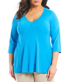 Westbound Plus Size V-Neck Seamed Swing Tunic