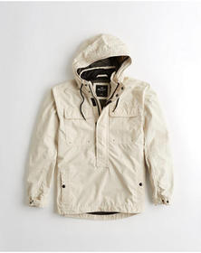 Hollister Hooded Utility Anorak, LIGHT KHAKI