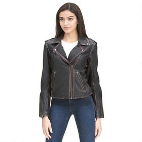 Bareskin Asymmetrical Leather Cycle Jacket w/ Rubb