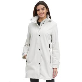 Designer Brand Tab Button Front Soft Shell Jacket