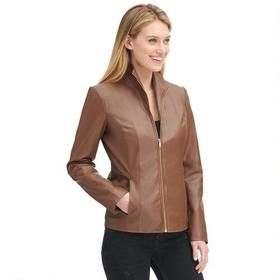 Designer Brand Faux-Leather Wing Collar Jacket